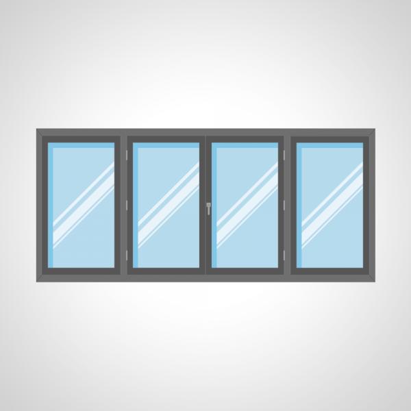 Fenêtre 2 ouvrants à la française et 1 fixe latéral gauche