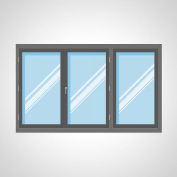 Fenêtre 2 ouvrant à la française et 1 fixe latéral